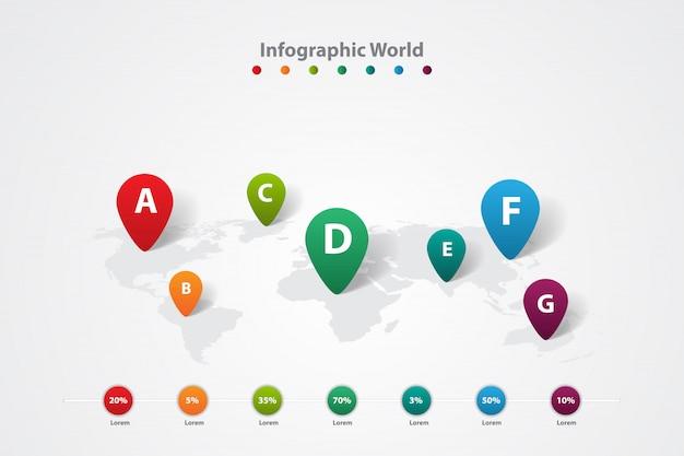 Mapa mundial de infografía, plan de información de comunicación de transporte.