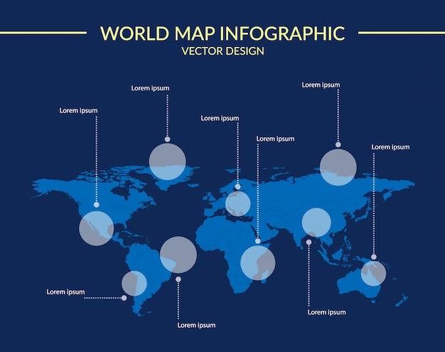 Mapa mundial infografía.