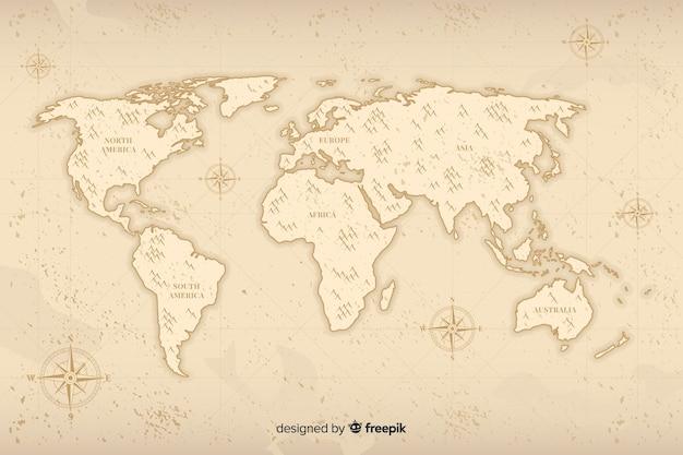 Mapa mundial minimalista con diseño vintage