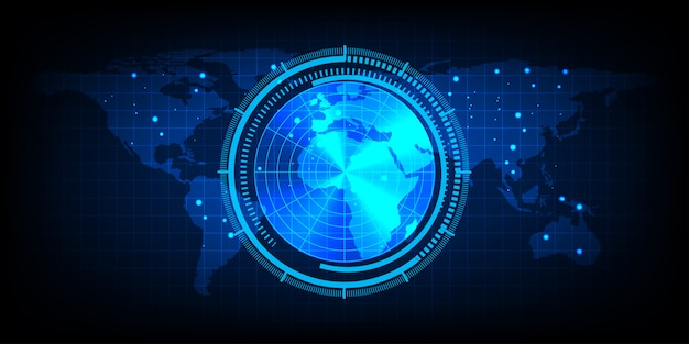 Mapa mundial con una pantalla de radar, radar azul digital con objetivos y mapa mundial utilizando como fondo y fondo de pantalla