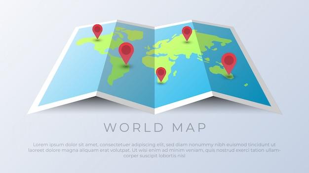 Mapa mundial con pines de ubicación geográfica