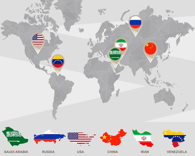 Mapa mundial con punteros de arabia saudita, rusia, estados unidos, china, irán, venezuela. países por producción de petróleo. ilustración de vector.