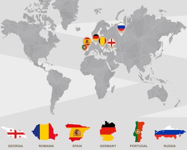 Mapa mundial con punteros de georgia, rumania, españa, alemania, portugal, rusia. ilustración de vector.