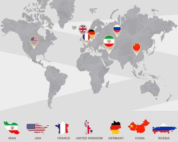 Mapa mundial con punteros de irán, estados unidos, francia, reino unido, alemania, china, rusia. sanciones a irán. ilustración de vector.