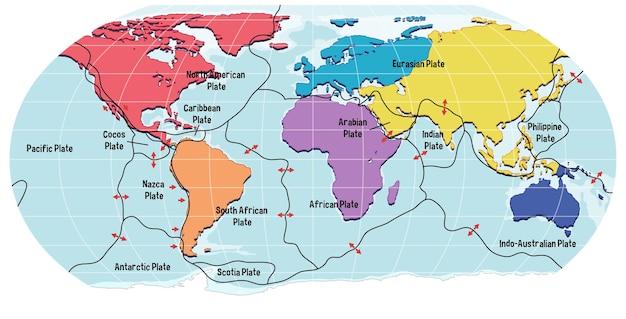 Mapa mundial que muestra los límites de las placas tectónicas