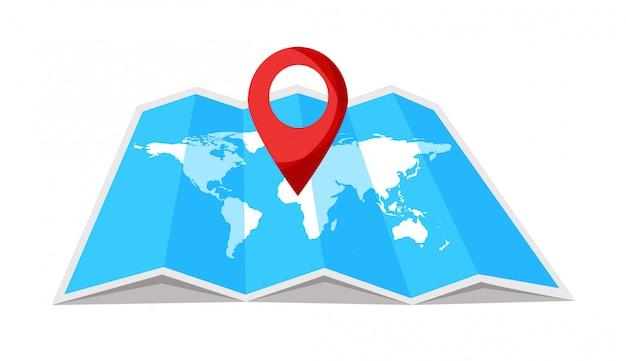 Mapa mundial de viajes con punta en él. ubicación en un mapa global. ilustración.