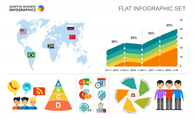 Mapa mundial y plantilla de gráfico de área para la presentación