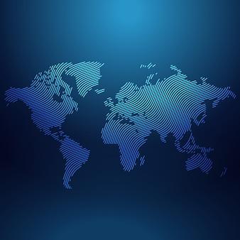 Mapa del mundo azul en el vector de estilo ondulado
