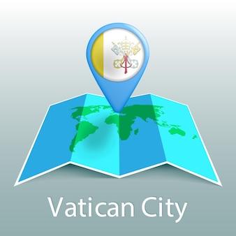 Mapa del mundo de la bandera de la ciudad del vaticano en pin con el nombre del país sobre fondo gris
