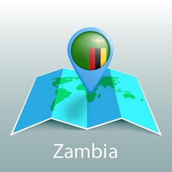 Mapa del mundo de la bandera de zambia en el pin con el nombre del país sobre fondo gris