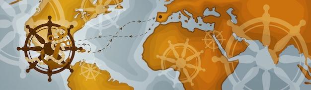 Mapa del mundo banner horizontal estilo vintage retro de los continentes