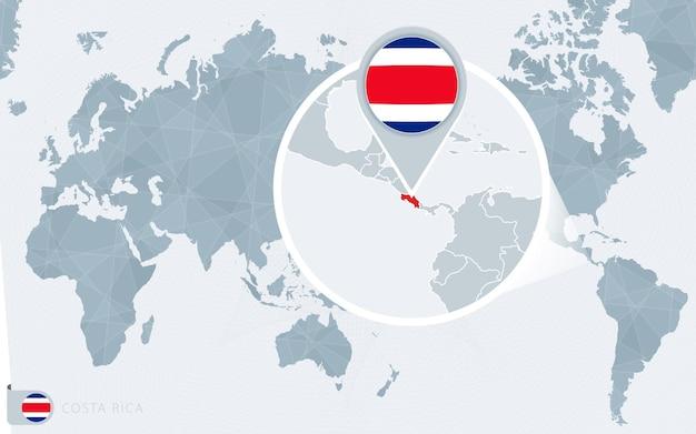 Mapa del mundo centrado en el pacífico con costa rica ampliada. bandera y mapa de costa rica.