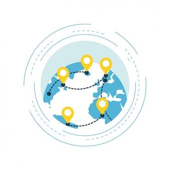 Mapa del mundo con diferentes puntos de referencia