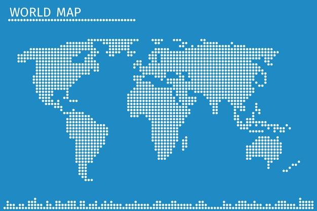 Mapa del mundo del globo terráqueo de puntos. geografía global en patrón de puntos,