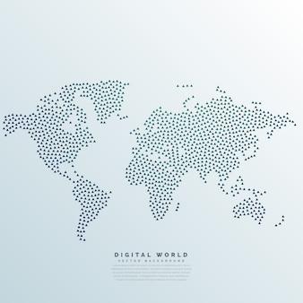 Mapa del mundo hecho con puntos