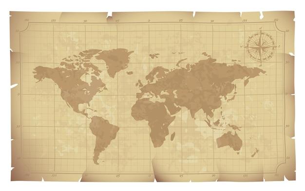 Mapa del mundo en la ilustración de papel antiguo