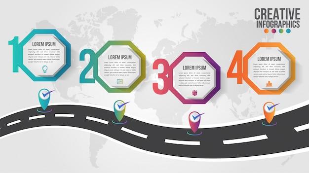 Mapa del mundo infografía empresarial 5 opciones de paso ilustración y puntero de plantilla de diseño