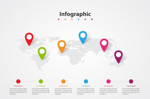 Mapa del mundo de infografía, posición de plan de información de comunicación de transporte