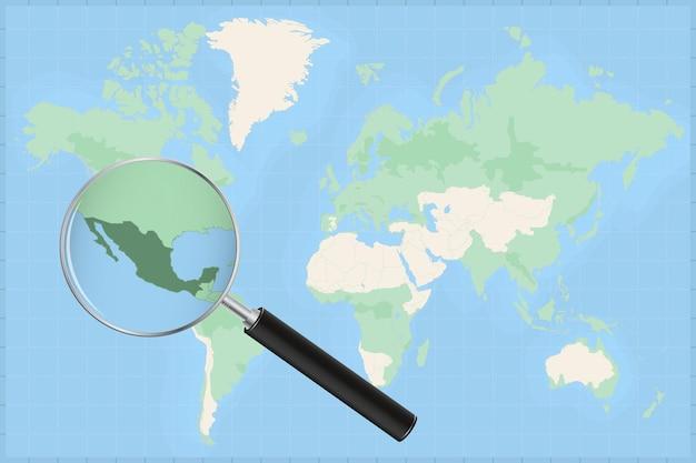 Mapa del mundo con una lupa en un mapa de méxico.