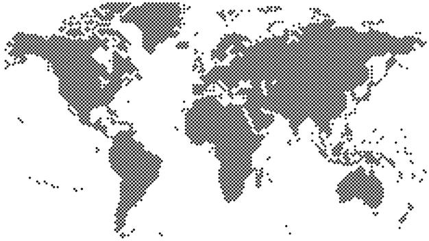 Mapa del mundo de medios tonos negro