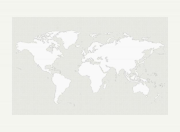 Mapa del mundo en el patrón de punto círculo gris sobre fondo blanco
