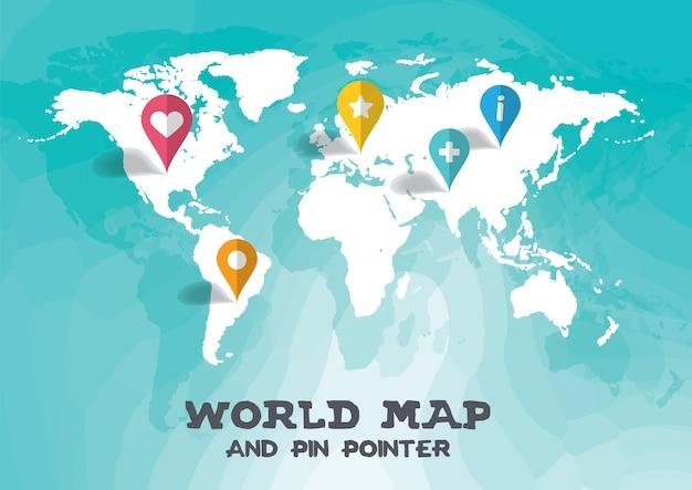 Mapa del mundo y pin puntero ilustración vectorial de fondo