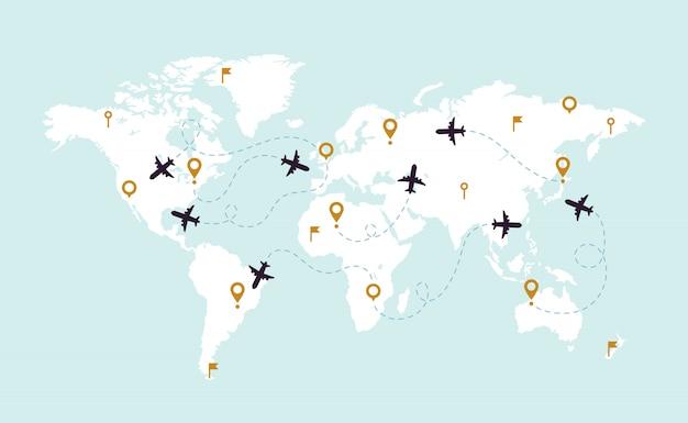 Mapa del mundo pistas de avión. ruta de seguimiento de aviación en el mapa mundial, línea de ruta de avión e ilustración de rutas de viaje
