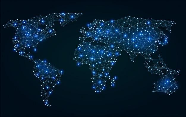 Mapa del mundo poligonal abstracto con puntos calientes, conexiones de red