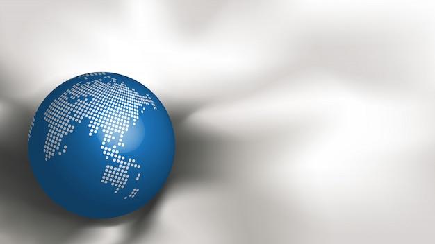 Mapa del mundo punteado metálico abstracto en esfera azul en seda de tela blanca