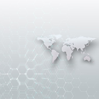 Mapa del mundo con puntos blancos, líneas de conexión y puntos sobre fondo de color gris