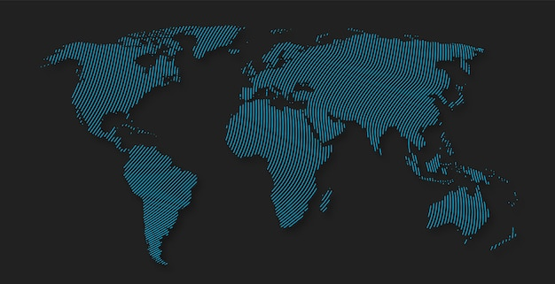 Mapa del mundo de la raya línea abstracta patrón