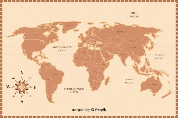 Mapa del mundo retro en detalle