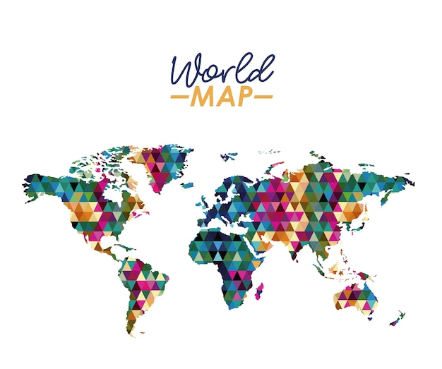 Mapa del mundo en silueta geométrica forma colorida