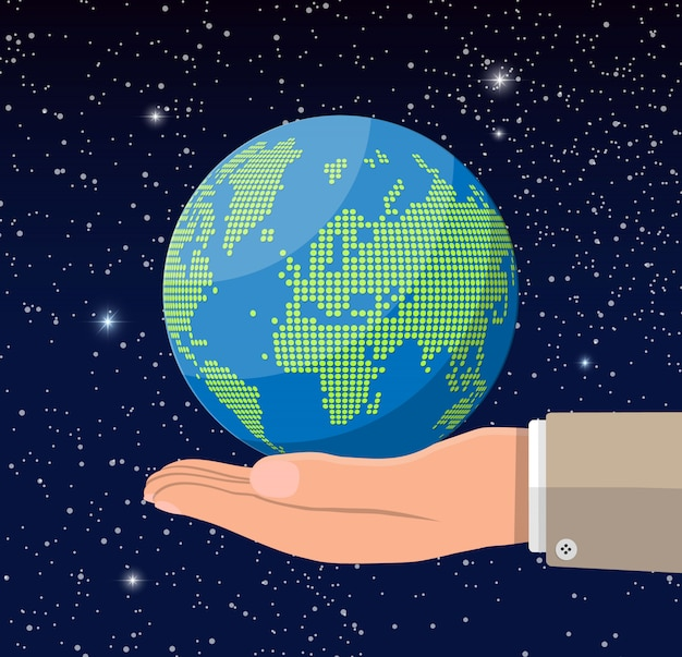 Mapa del mundo silueta en mano. puntos de globo en el espacio