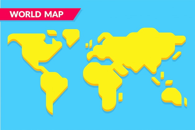 Mapa del mundo simple estilo de dibujos animados