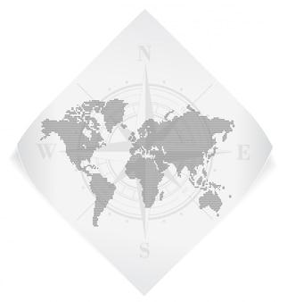 Mapa del mundo sobre la etiqueta engomada del papel blanco aislada en blanco