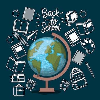 Mapa del mundo y suministros de regreso a la escuela.