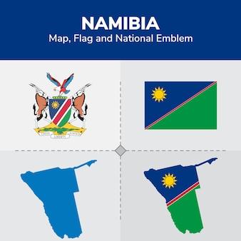 Mapa de namibia, bandera y emblema nacional