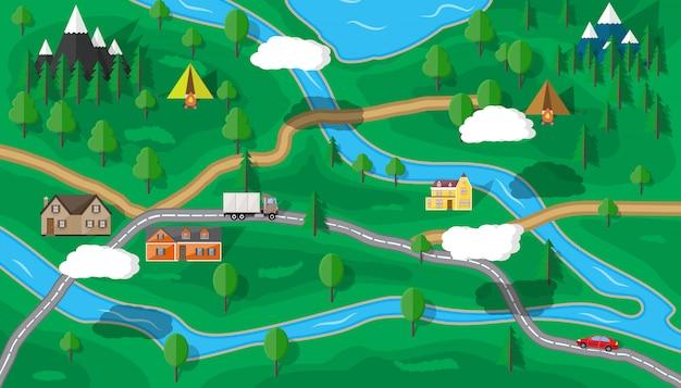 Mapa de la naturaleza suburbana