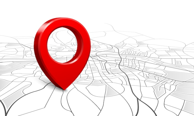 Mapa de navegación, localizador de pines de ubicación de calle 3d, mapas de navegador de puntero de pines y marcador de ubicaciones