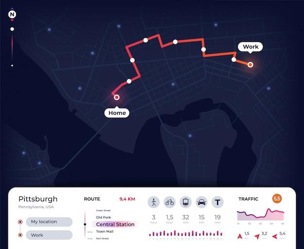 Mapa de navegación. navegador gps de la ciudad ui con ruta de mapeo, seguimiento del plano de la calle. diseño de aplicación de hoja de ruta