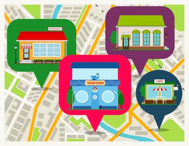 Mapa de navegación con pines tiendas de aplicaciones móviles. restaurante de comida de mar, cafetería y supermercado frentes vector ilustración