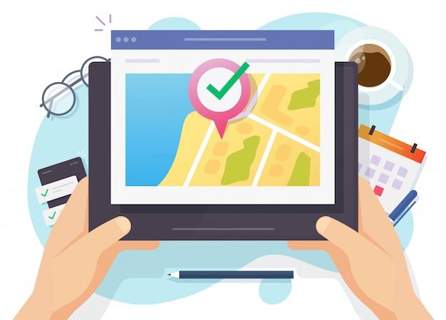 Mapa de navegación de ubicación web gps en línea y puntero de pin destino de internet en tableta digital