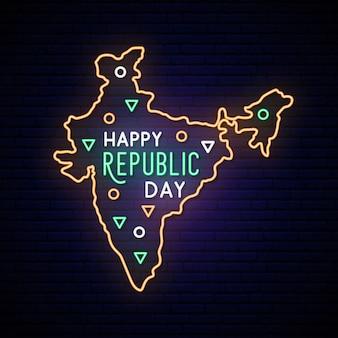 Mapa de neón del día de la república de la india