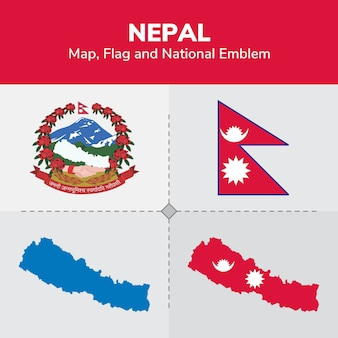 Mapa de nepal, bandera y emblema nacional