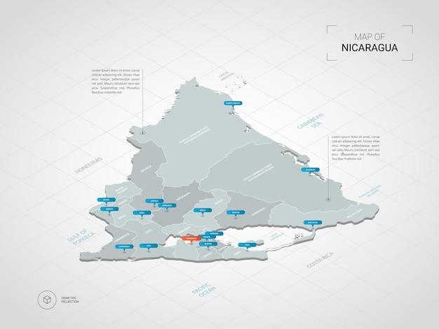 Mapa de nicaragua isométrica. ilustración de mapa estilizado con ciudades, fronteras, capitales, divisiones administrativas y marcas de puntero; fondo degradado con rejilla.