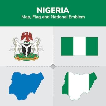 Mapa de nigeria, bandera y emblema nacional