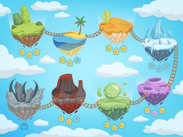 Mapa de nivel de juego. etapas de interfaz de usuario móvil con varias islas isométricas con plantilla de vector de volcán y agua helada de hierba de roca