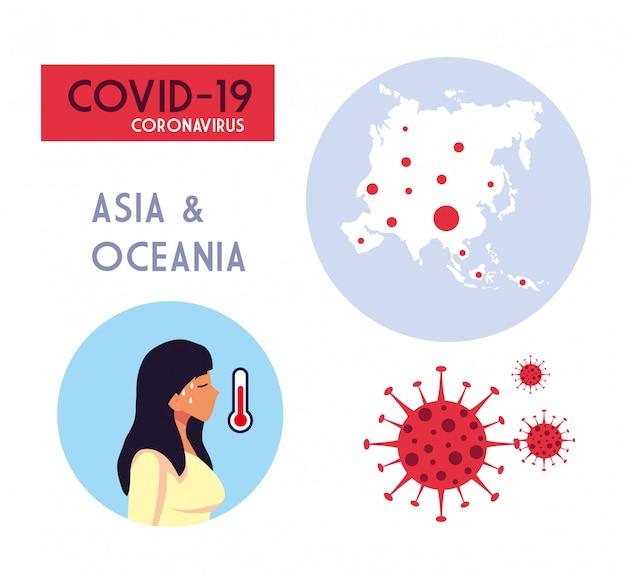 Mapa de oceanía de mujer y asia con diseño de vector de virus covid 19