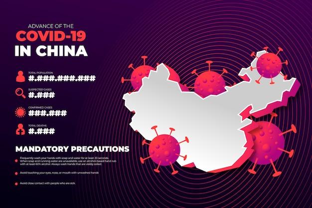 Mapa de país de coronavirus infografía para china